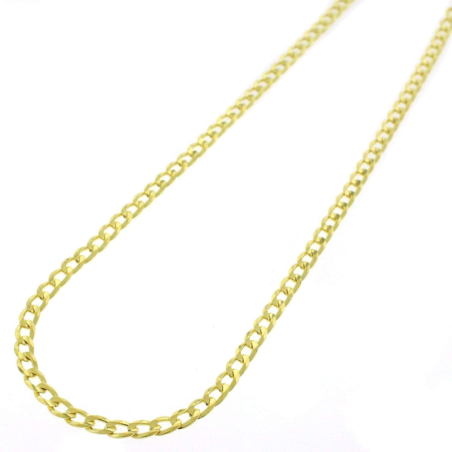 Sterling Silver Italian 3mm Cuban Curb Link ITProLux Solid 925 Yellow Gold Plated Necklace Chain 16'' - 30'' (26)