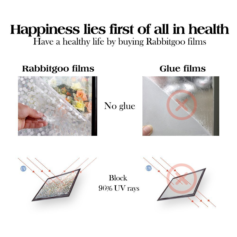 "RABBITGOO No Glue Privacy Window Film Decorative Window Film Static Cling Window Film Circles Pattern Glass Film for Home Kitchen Office Bedroom Living Room 17.5"" x 78.7'' by RABBITGOO (Image #8)"