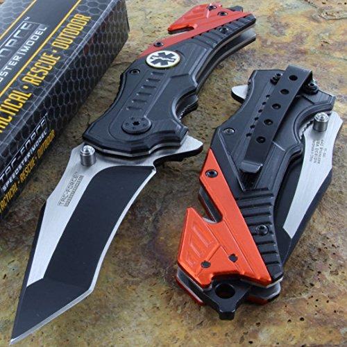 Cheap Tac-force Orange EMT Folding Glass Breaker Rescue Pocket Knife