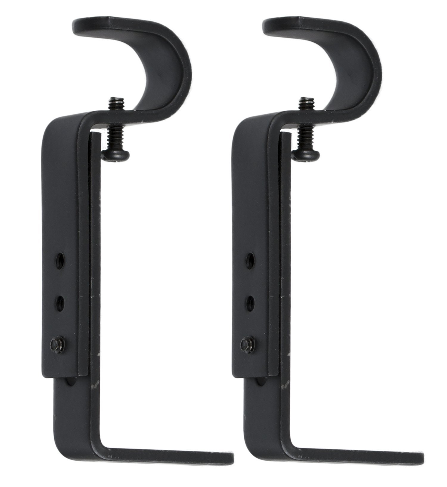 Urbanest Adjustable Bracket for 1/2-inch and 5/8-inch Curtain Drapery Rod, 2 pieces, Black