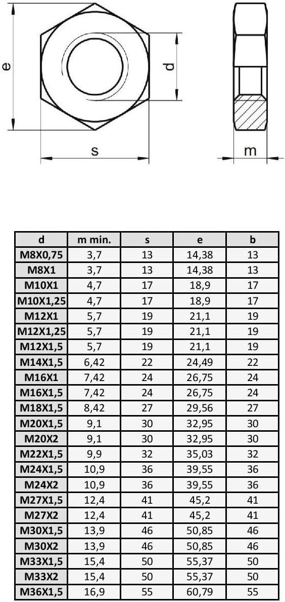 M8x0.75 x1 Tuerca hexagonal Baja Acero Inox DIN 439 M/étrica Fina