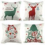Coogam Christmas Pillow Case Set of 4 Cotton Linen Burlap Square Throw Pillow Cover Protectors for Sofa Bench Couch Car Seat Bed Elk Pillowcase Holiday Merry Xmas Decoration 16x16 17X17 inch (44cm)