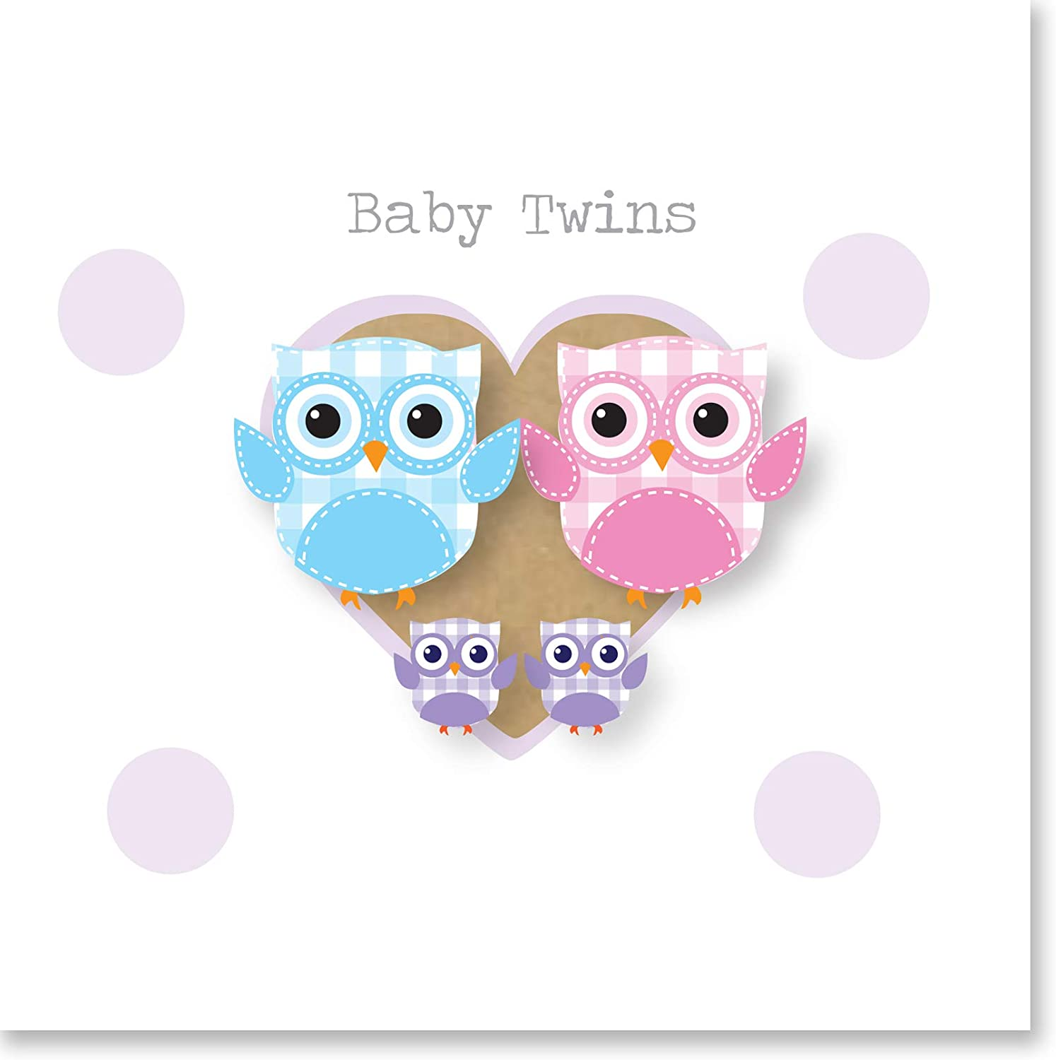 Owls Baby Twins Card with Silver Foil Text 140mm Jonathan Glick Designs