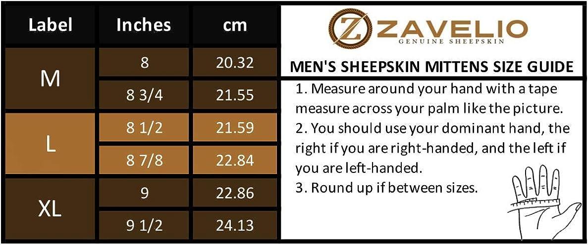 Zavelio Men's Premium Shearling Sheepskin Leather Fur Mittens at  Men's Clothing store