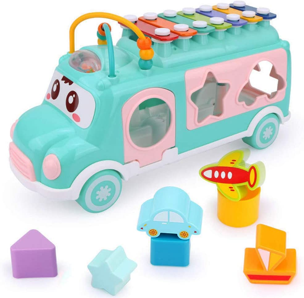 Blocks for 1 2 3 Year Old Boys and Girls Push /& Pull Toy with Xylophone Aqua Blue Juboury School Bus Toy Learning Educational Toys for Baby /& Toddler
