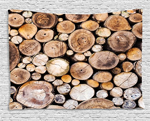 Ambesonne Rustic Tapestry, Wooden Logs Background Circular Shaped Oak Tree Life and Growth Theme Print, Wall Hanging for Bedroom Living Room Dorm, 80 W X 60 L Inches, Sand Brown