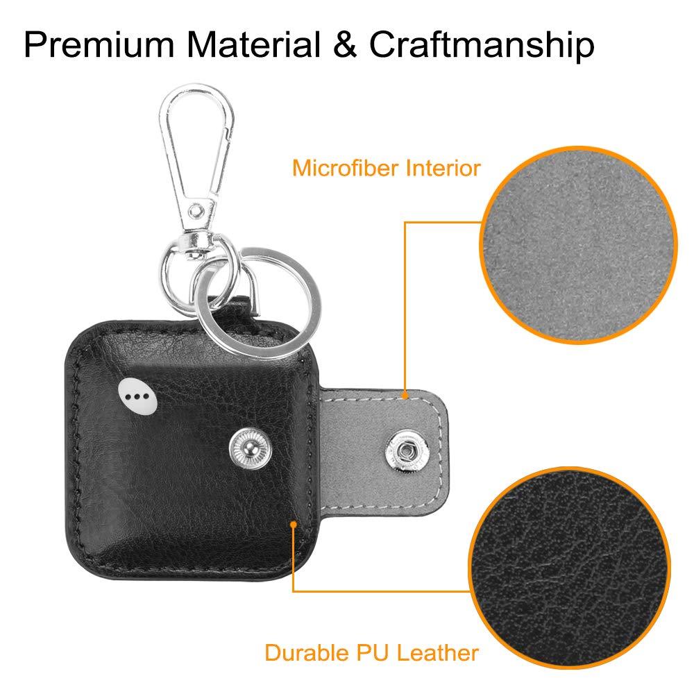 // Tile Pro//Tile Sport//Tile Style Key Finder Phone Finder Black Anti-Scratch Vegan Leather Protective Skin Cover Fintie Case with Carabiner Keychain for Tile Mate 2016 /& 2018 2 Pack