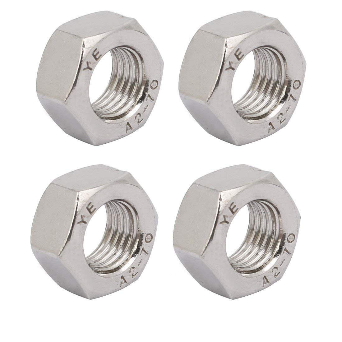 4 Pieces M12 x 1.5 mm Metric Pitch Thread 304 Stainless Steel Hexagon Nuts
