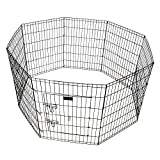 Pet Playpen 36 Inch Tall E-coat Iron Wire Folding Exercise Yard Fence Kennel for Rabbit Dog with 8 Panel One Door 24 x 36'' (Width x Hight)