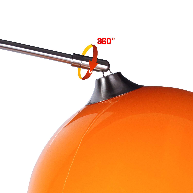 CCLIFE Lampada a stelo Colore:Arancio altezza regolabile 1 x E27 max 60 W lampada da terra lampada ad arco con Base Rotonda in Marmo,luce di lettura