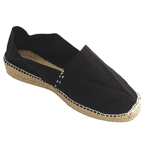 Alpargata de Esparto con cuña Baja Made in Spain en Negro: Amazon.es: Zapatos y complementos
