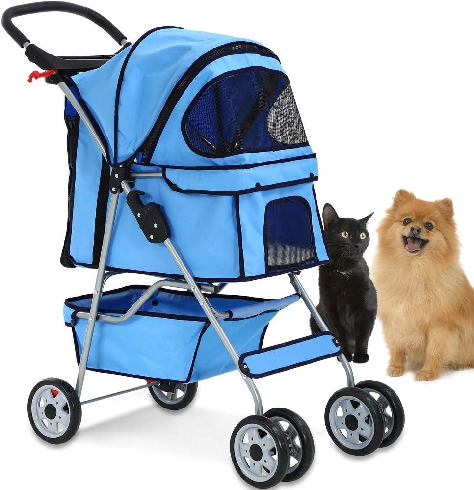 Amazon.com: Cochecito para mascotas con 4 ruedas, jaula para ...