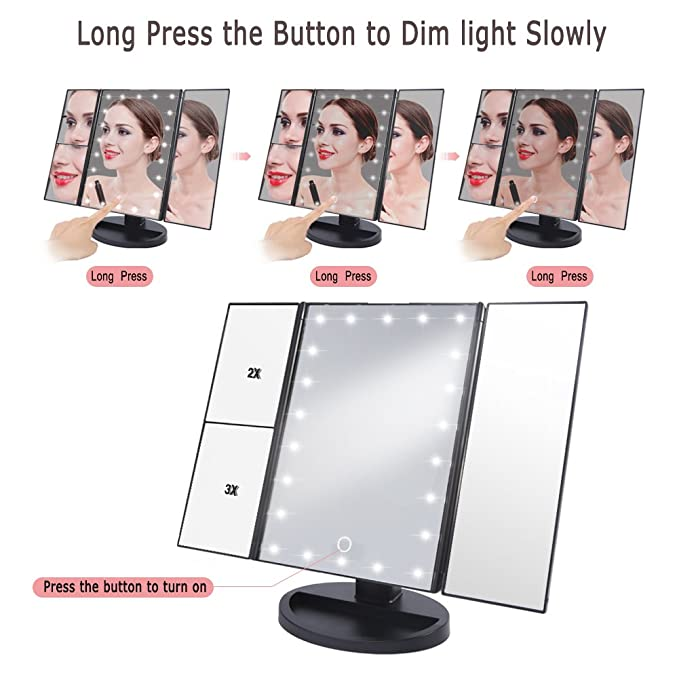 3 Way Led Lighted Vanity Makeup Magnifying Mirror Hurrise Trifold
