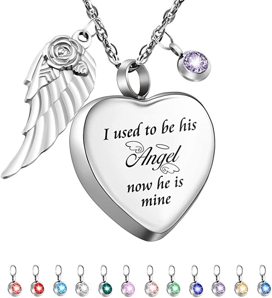Dletay Heart Cremation Necklace for Ashes Angel Wing Urn Necklace with 12 PCS Birthstones-I Used to be His Angel, Now He/She is Mine