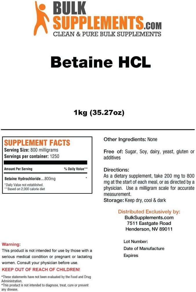 BulkSupplements Betaine HCL Powder 5 Kilograms