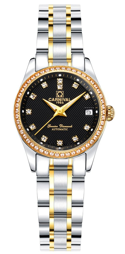 CARNIVAL Women's Automatic Mechanical Analog Watch Chic Rhinestones Dress (Gold Black)
