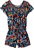 Ella Moss Big Girls' Voile Romper, Black Floral, 10
