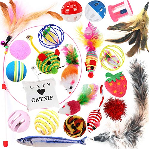 Legendog Cat Toys Set, 22PCS Kitten Toys Variety Cat Toy Pack Cat Toys Collection Kittten Toys Variety Pack Including Cat Feather Teaser Wand, Catnip Toy, Mice, Colorful Balls, Bells and so on for Cat 2