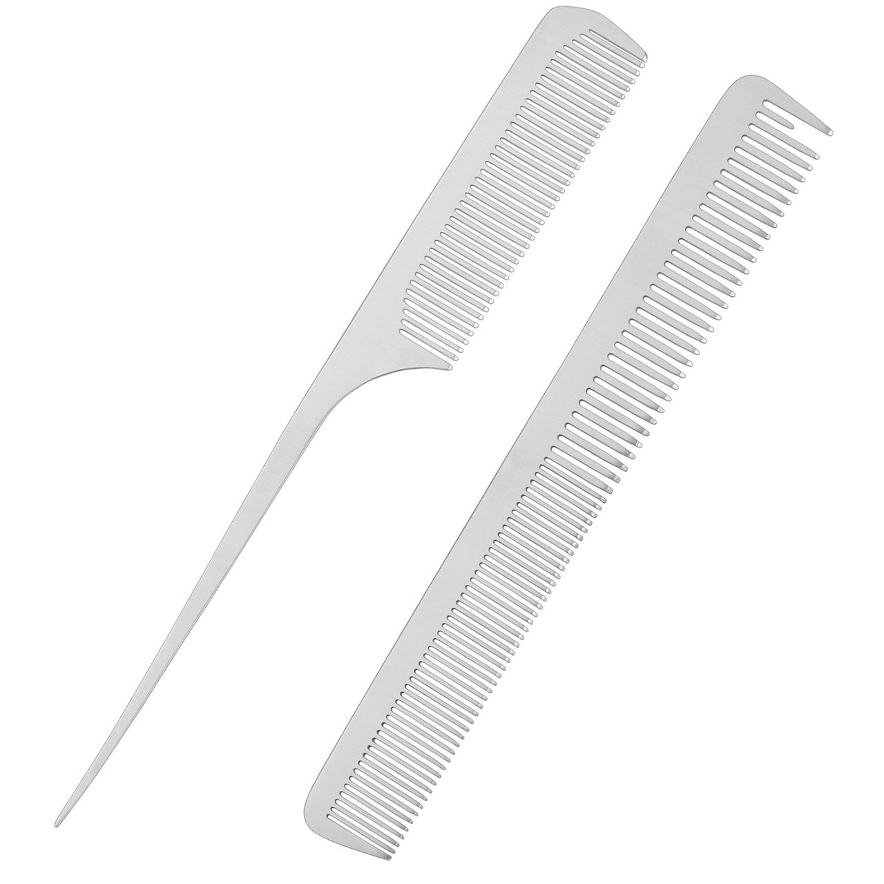 CCbeauty 2-Packs Metal Barber Comb Set Pack for Men & Women,Professional Hairdressing Salon Combs Hair cutting Tool Detangler Comb with Leather Bag (#2)