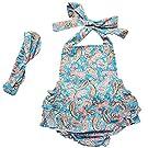 DQdq Baby Girls' Floral Print Ruffles Romper Summer Dress Blue Cashew Nut 12 Month