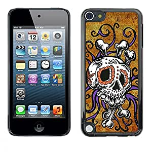 Eason Shop / Hard Slim Snap-On Case Cover Shell - Skull Octopus Floral Gold Purple - For Apple iPod Touch 5