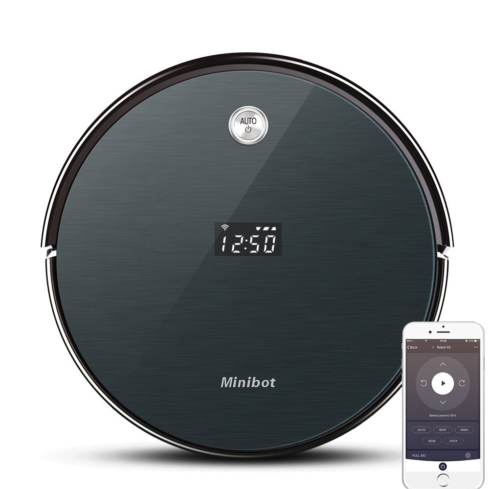 Minibot Robot Vacuum Cleaner with Max Power Suction WiFi Connectivity App Controls Self Charging for Pet Hairs Hard Surface Floors Thin Carpets DAR Gray