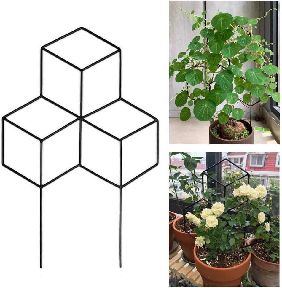 juman Garden Metal Trellis, Lattice-Shaped Plant Trellis Sturdy Potted Plant Growing Support for DIY Potted Climbing Plants Support, Flower Vegetables