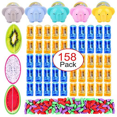 - Plastic Pencil Sharpener Eraser Caps-50 Pcs Manual Pencil Sharpener, 5 Pcs Cartoon Pencil Sharpener, 3 Pcs Fruit Shape Pencil Sharpener with 100 Pcs Pencil Top Eraser Caps for Kids Learning