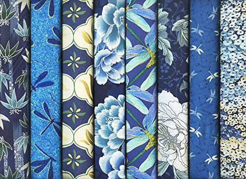 8 Coordinated Asian Japanese Fat Quarter Bundle in Navy Blue and Teal (2 Yards Total)