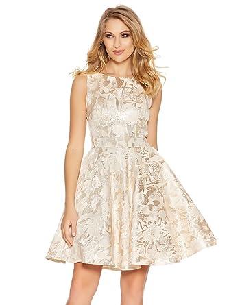 Ex Store Flower Floral Satin 50 style Skater Dress Prom Ball Gold Cream 6-