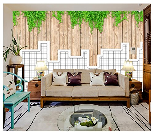 Mznm Photo Wallpaper 3D Murals Wallpaper For Walls 3D Green Leaf Vine Small Fresh Wood Mural Background Wall Paper Home Decor-200X140Cm (Leaf Vine Stripe Wallpaper)