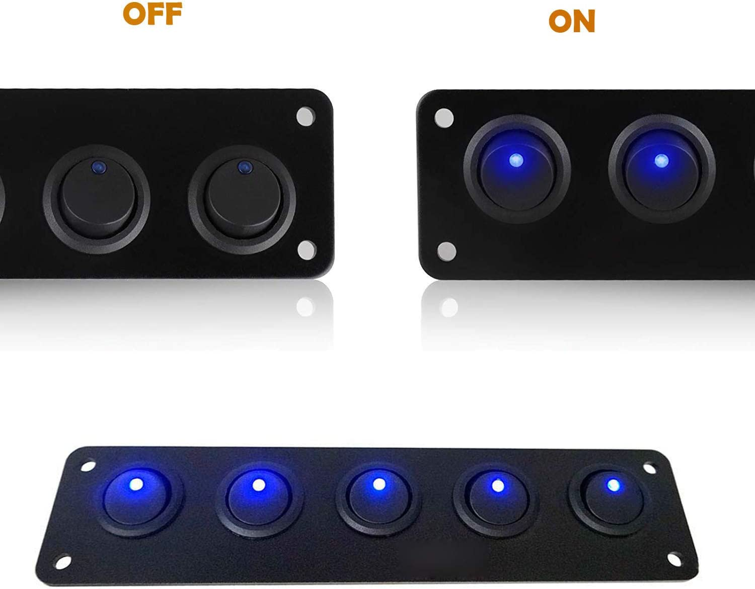 VonSom 12V Rocker Switch Panel Circuit Breaker Waterproof 5 Gang 3 Pin On//Off Toggle LED Switches for RV Marine Car Vehicle Trailer Truck SUV Boat RV Ship DC 12V//24V 20A