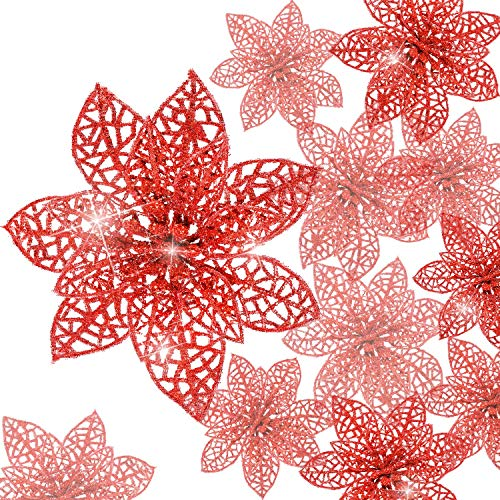 Boao 24 Pieces Glitter Poinsettia Christmas Tree Ornament Christmas Flowers Decor Ornament (red)