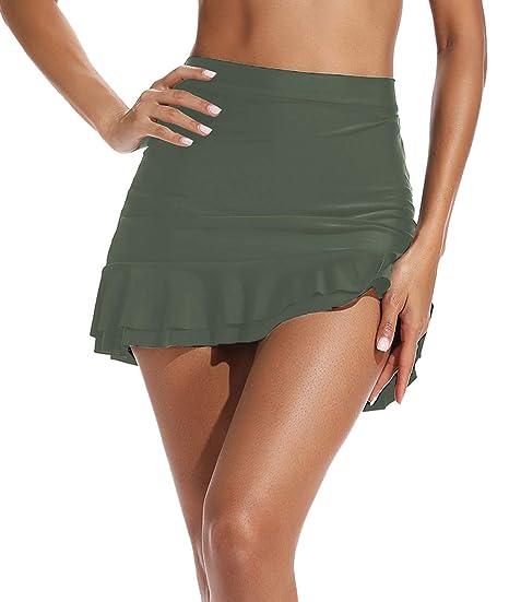 TRESXS - Falda de Bikini con Falda y Volantes para Mujer Verde ...
