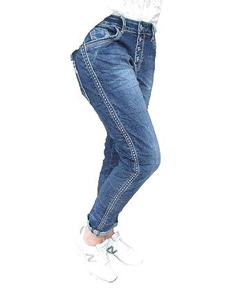 4505f2c6189c Karostar Stretch Baggy Boyfriend Jeans Nieten Seitenstreifen (M-38, Denim)