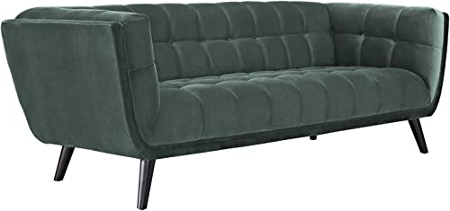 Modway Bestow Mid-Century Performance Velvet Upholstered Tufted Sofa In Green