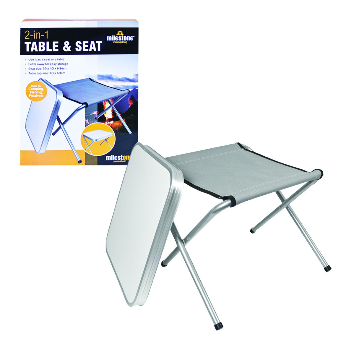 Milestone Combination Camping Table and Stool - Cream,  Seat: 39 x 40 x 34cm