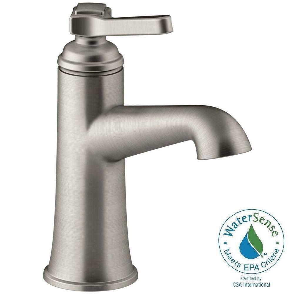 Kohler Bathroom Sink Faucet Single Hole One Handle Lever Vibrant Brushed Nickel