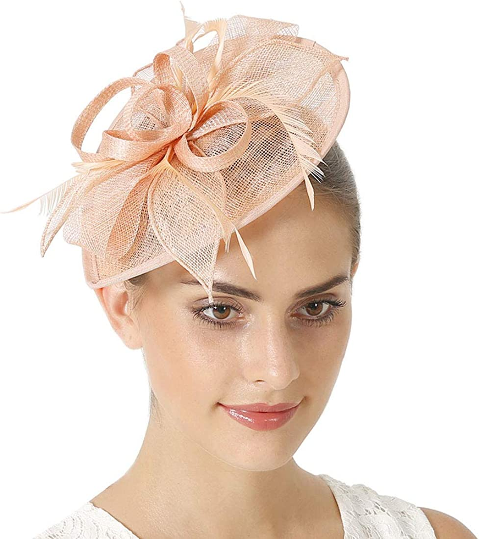 White Sinamay headband fascinator accented with veil and feathers