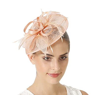 b87f5662c1f76 Sinamay Vintage Women Fascinators Derby Hat Feather with Headband Cocktail  Headpiece for Tea Party Wedding (