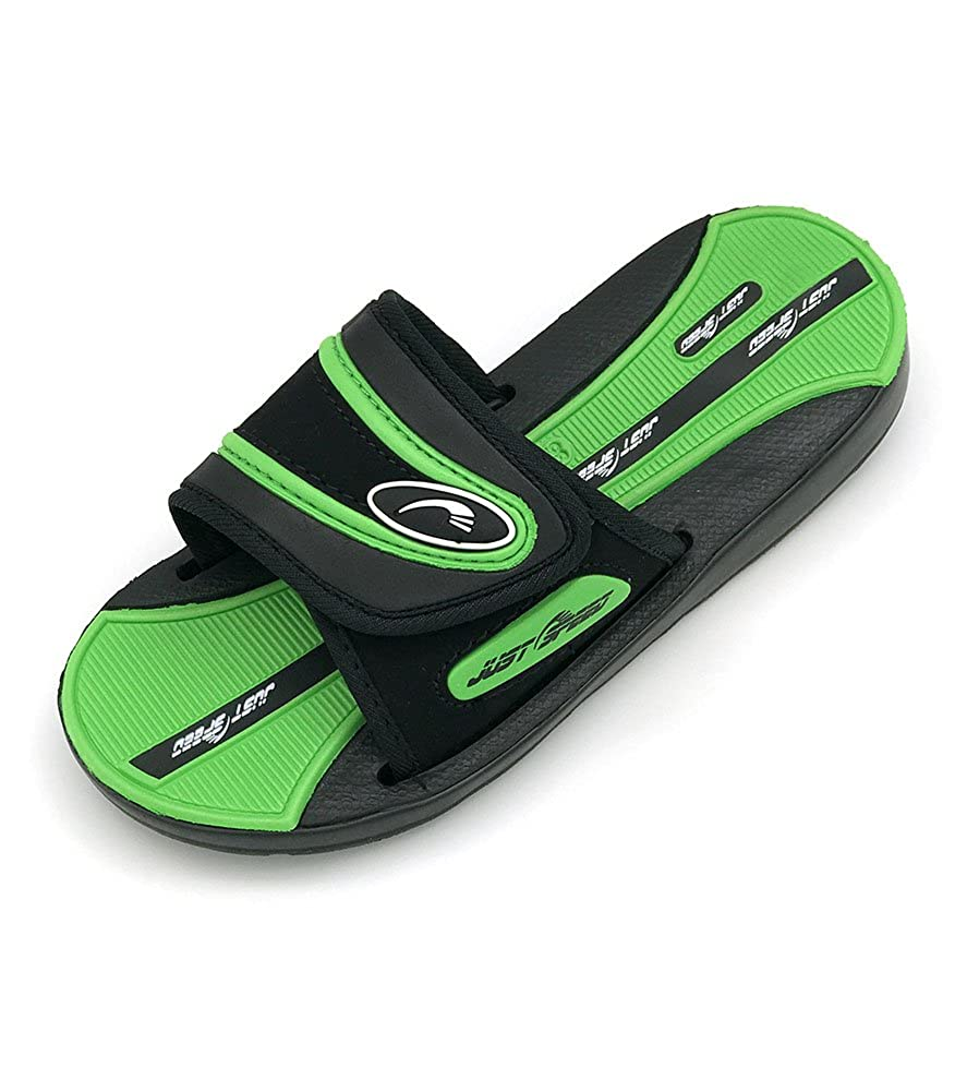 Just Speed Boys Youth Slide Sandals Flip Flop Cool Colors Summer Fun Indoors Outdoors Sand Beach Pool