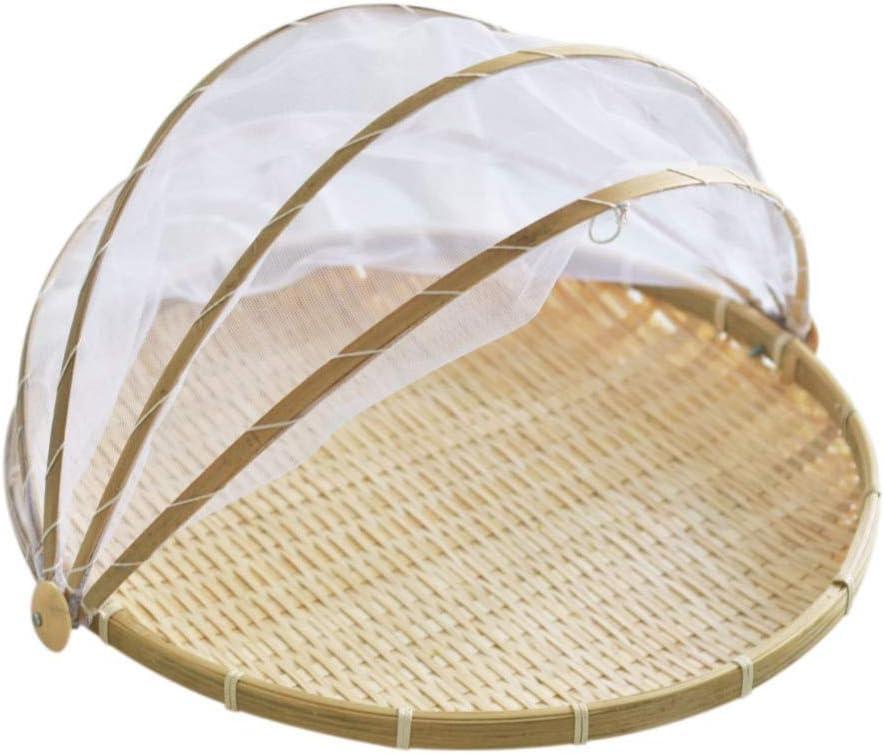 Hankyky Hand-Woven Food Serving Basket Dustproof Round Picnic Basket Food Tent Basket with Mesh Gauze Cover for Vegetable Fruit Bread