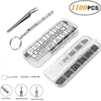Electop Eyeglasses Repair Tool Kit, 1100Pcs Tiny Screws Nuts Washer Nose Pads Stainless Steel Micro Tweezer Screwdriver for Sunglasses Spectacles