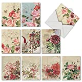 M2988OCB Botanical Collages: 10 Assorted Blank All-Occasion Note Cards Featuring Vintage Style Floral Collages, w/White Envelopes.