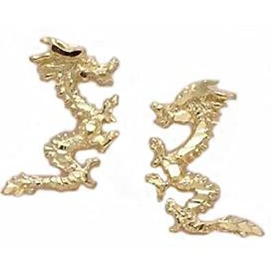 Amazoncom 14K Gold Dragon Earrings 13mm Dragon Earrings Jewelry
