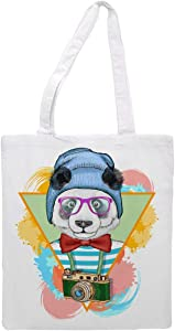 Women's tote bag/Bear with hat, glasses, neck tie and camera - Sports Gym Lunch Yoga Shopping Travel Bag Washable - 1.47X0.98 Ft