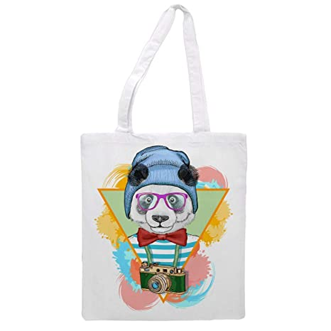 Womens tote bag/Bear with hat, glasses, neck tie and camera - Sports Gym Lunch Yoga Shopping Travel Bag Washable - 1.47X0.98 Ft