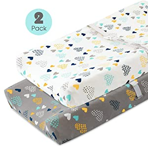 COSMOPLUS Stretch Fitted Changing Pad Cover -2 Pack Stretchy Changing Table Pad Covers for Boys Girls, Heart Pattern