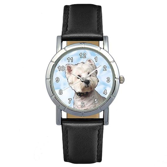 West Highland Terrier – Reloj Mujer – pulsera cuero negro redondo analógico cuarzo cw024