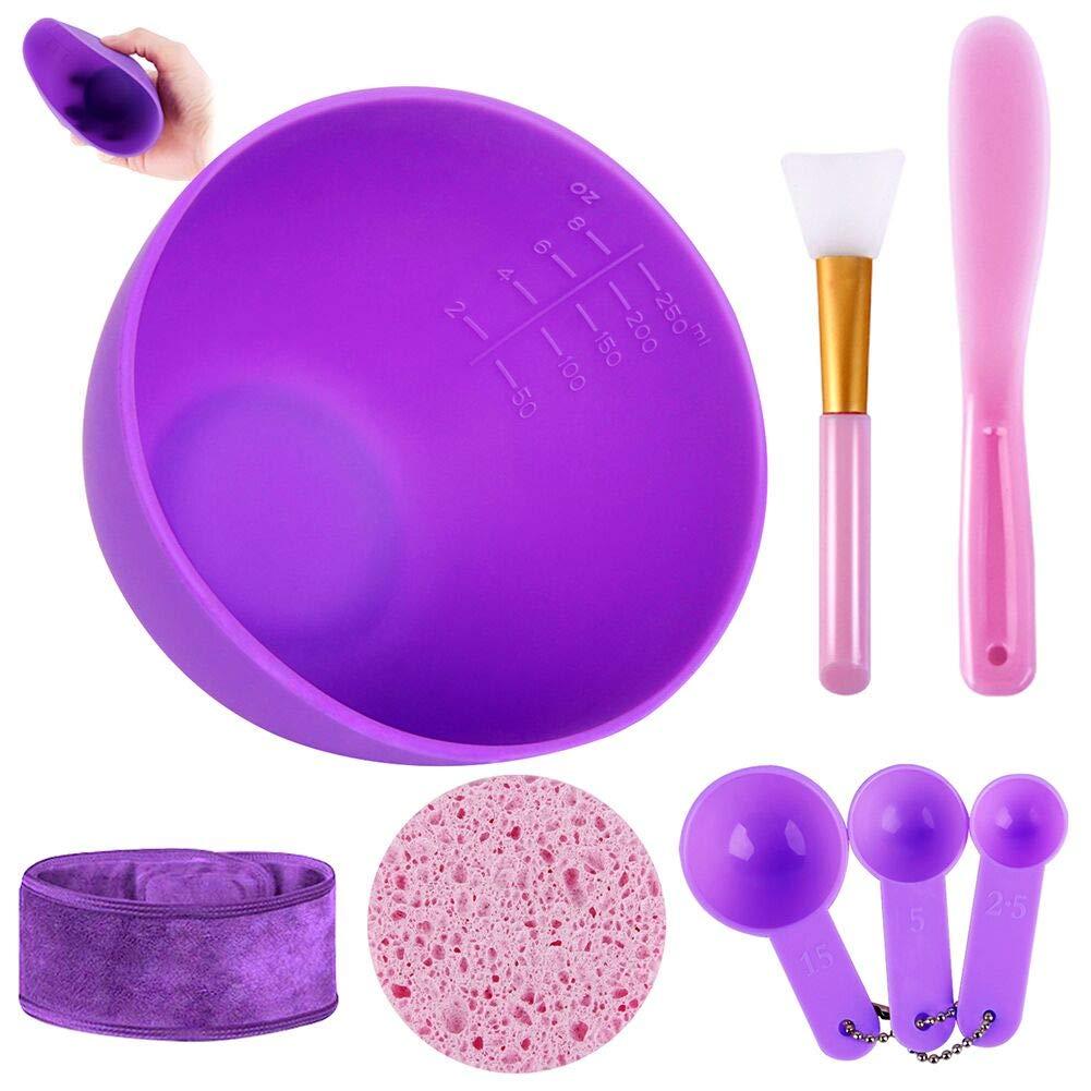 FaceMask Mixing Bowl Set, Anmyox Diy Face mask Mixing Tool Kit with Silicone Mask Bowl, Face Mask Brush, Measuring Spoons, Mask Spatula, Makeup Headband and Exfoliating Sponge (8-IN-1)